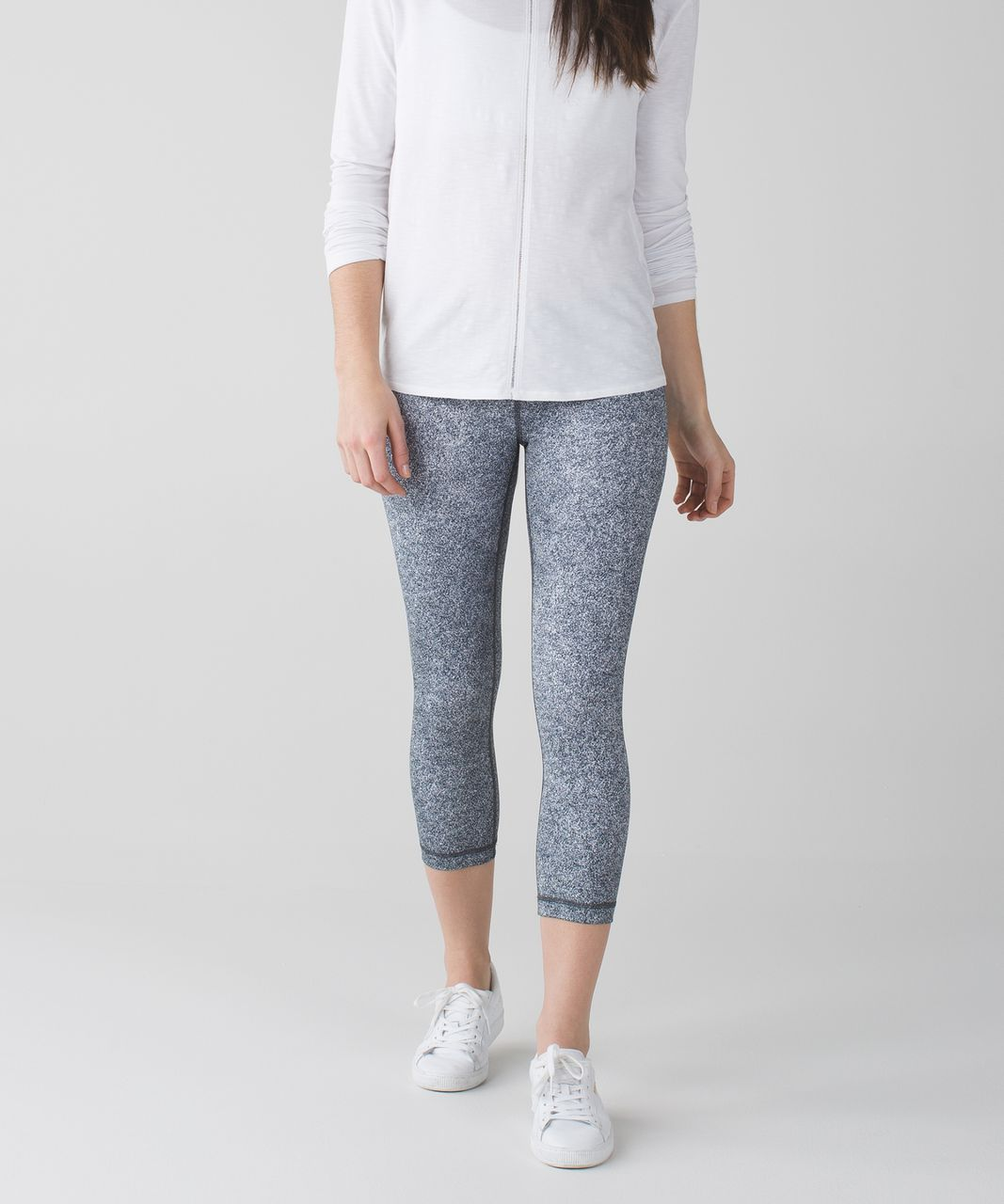 Lululemon Wunder Under Crop III - Rio Mist White Black