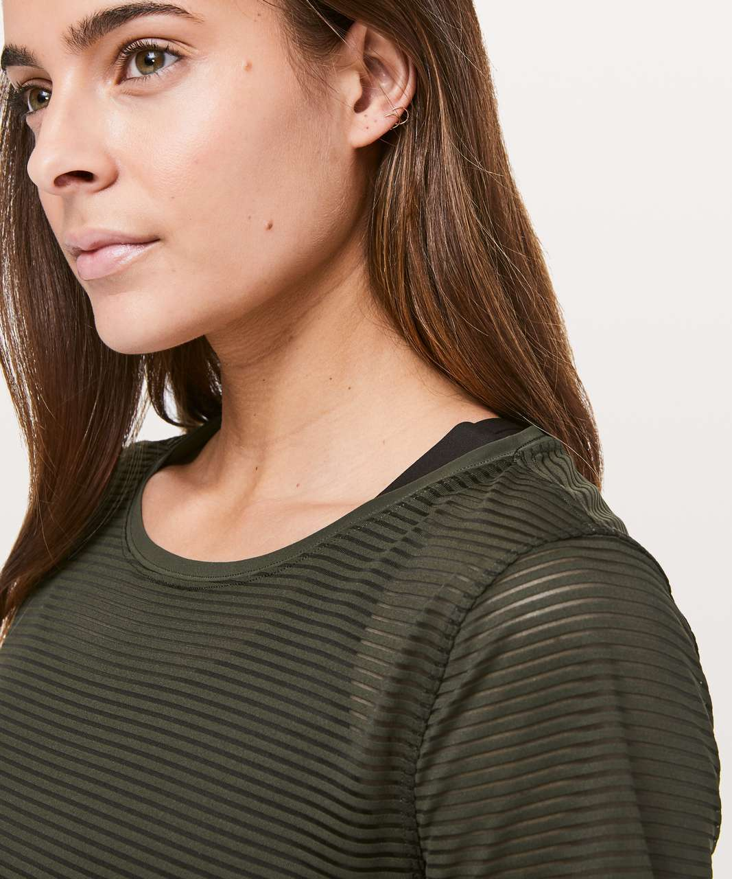 Lululemon All Love Crew *Striped Mesh - Dark Olive