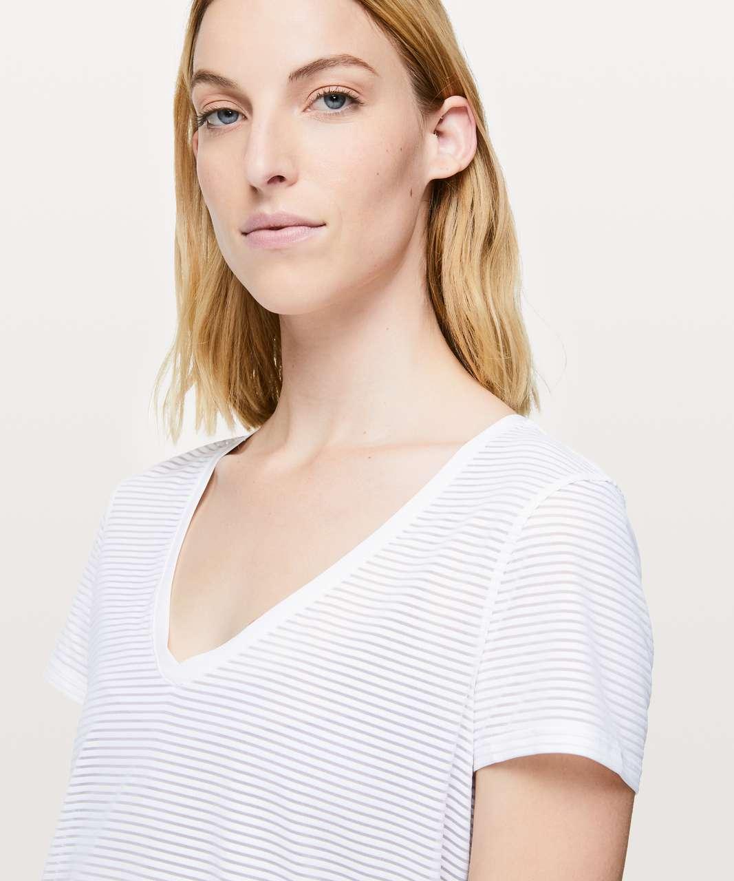 Lululemon All Love Crew *Striped Mesh - White