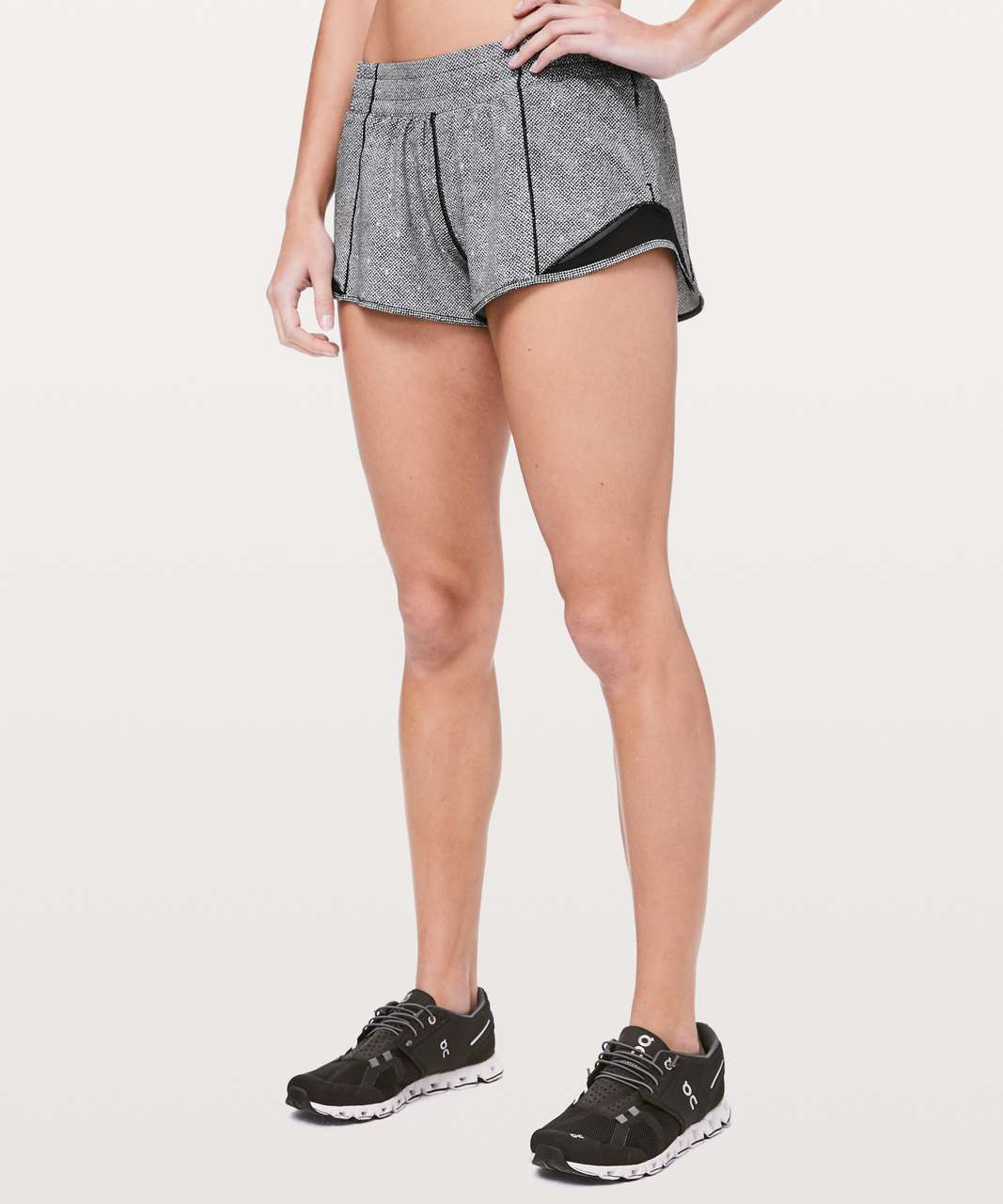 "Lululemon Hotty Hot Short II *2.5"" - Dotscape Alpine White Black / Black"