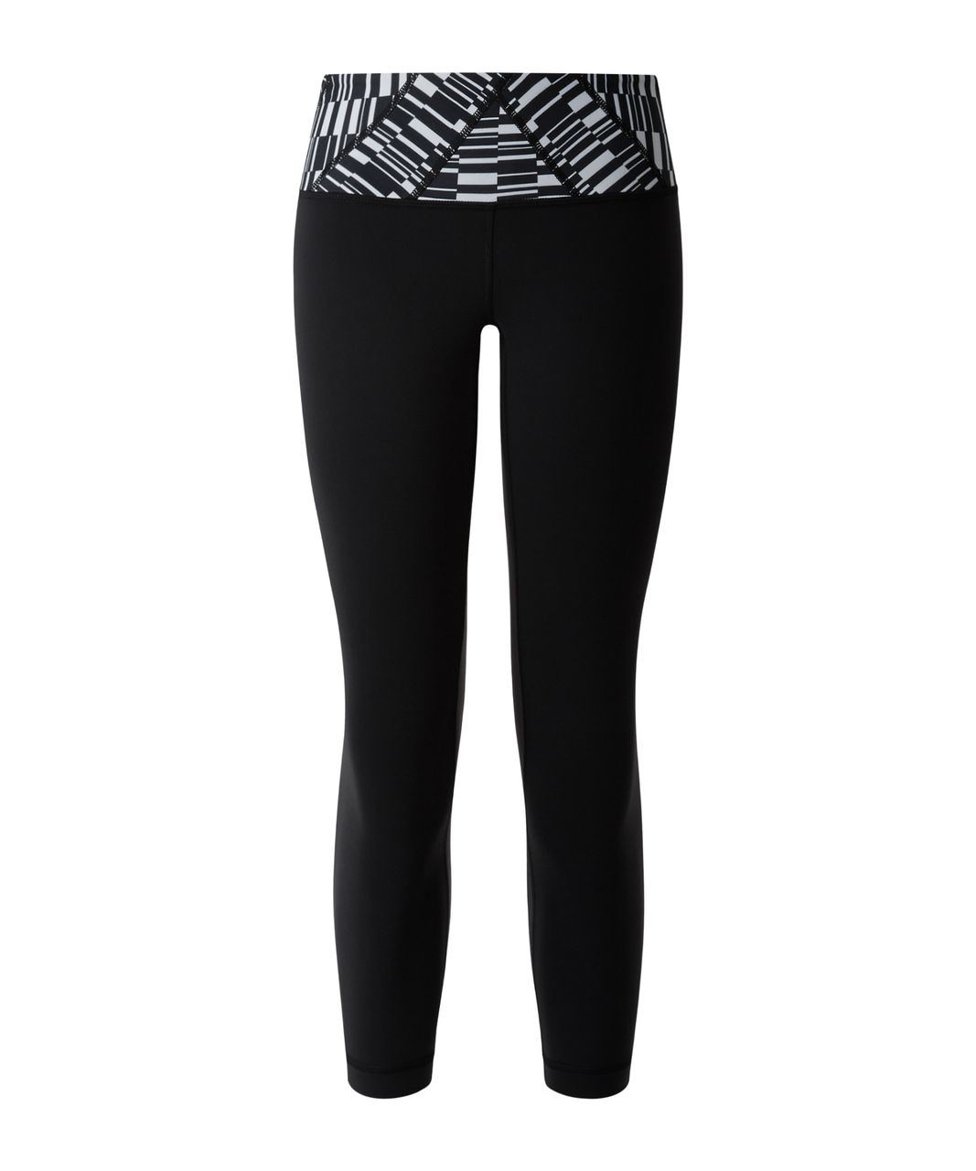 Lululemon Wunder Under Crop III - Black / Ying Yang Stripe White Black