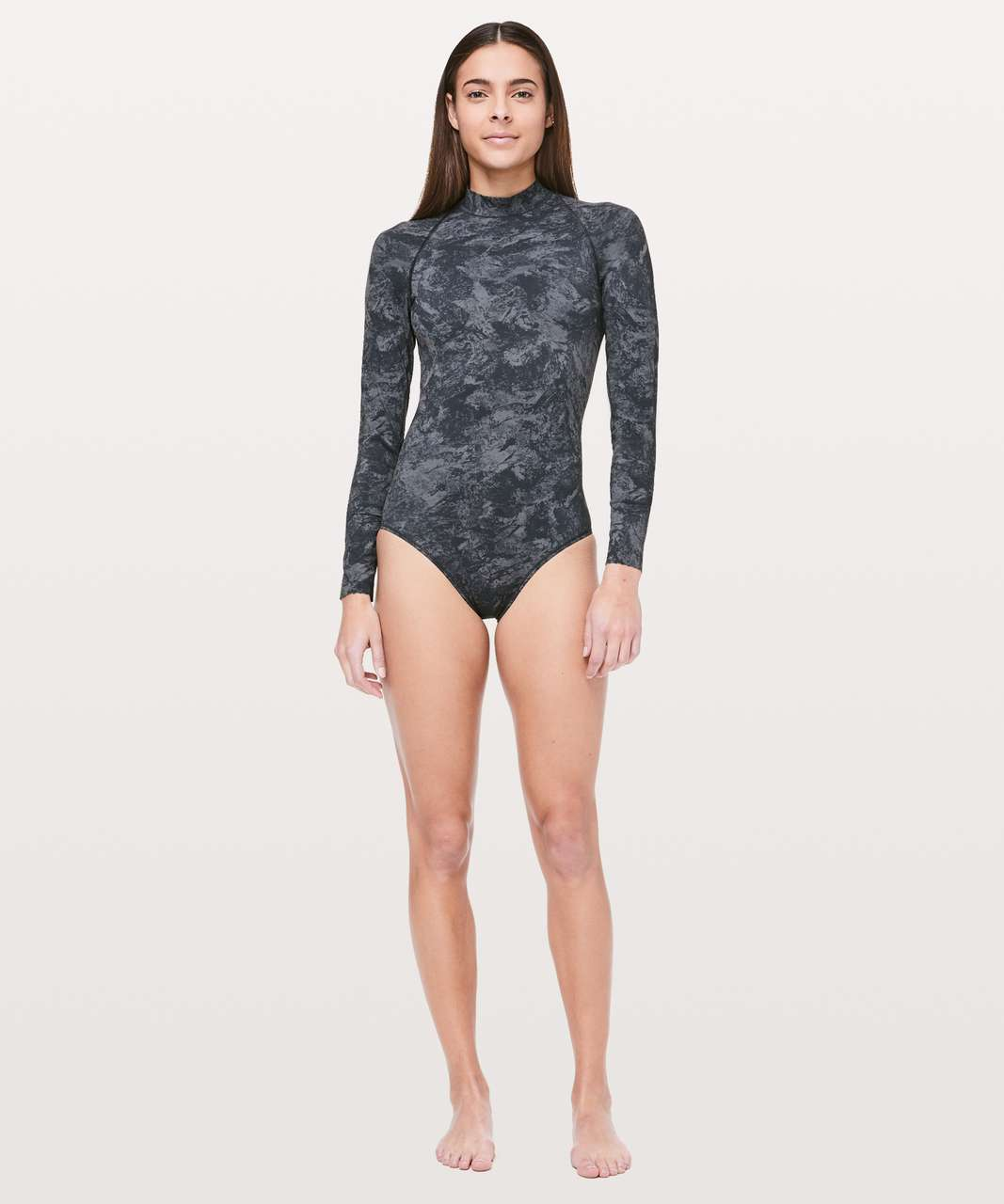 8d3ed14cf548c Lululemon Will The Wave Long Sleeve One Piece - Washed Marble Titanium Deep  Coal