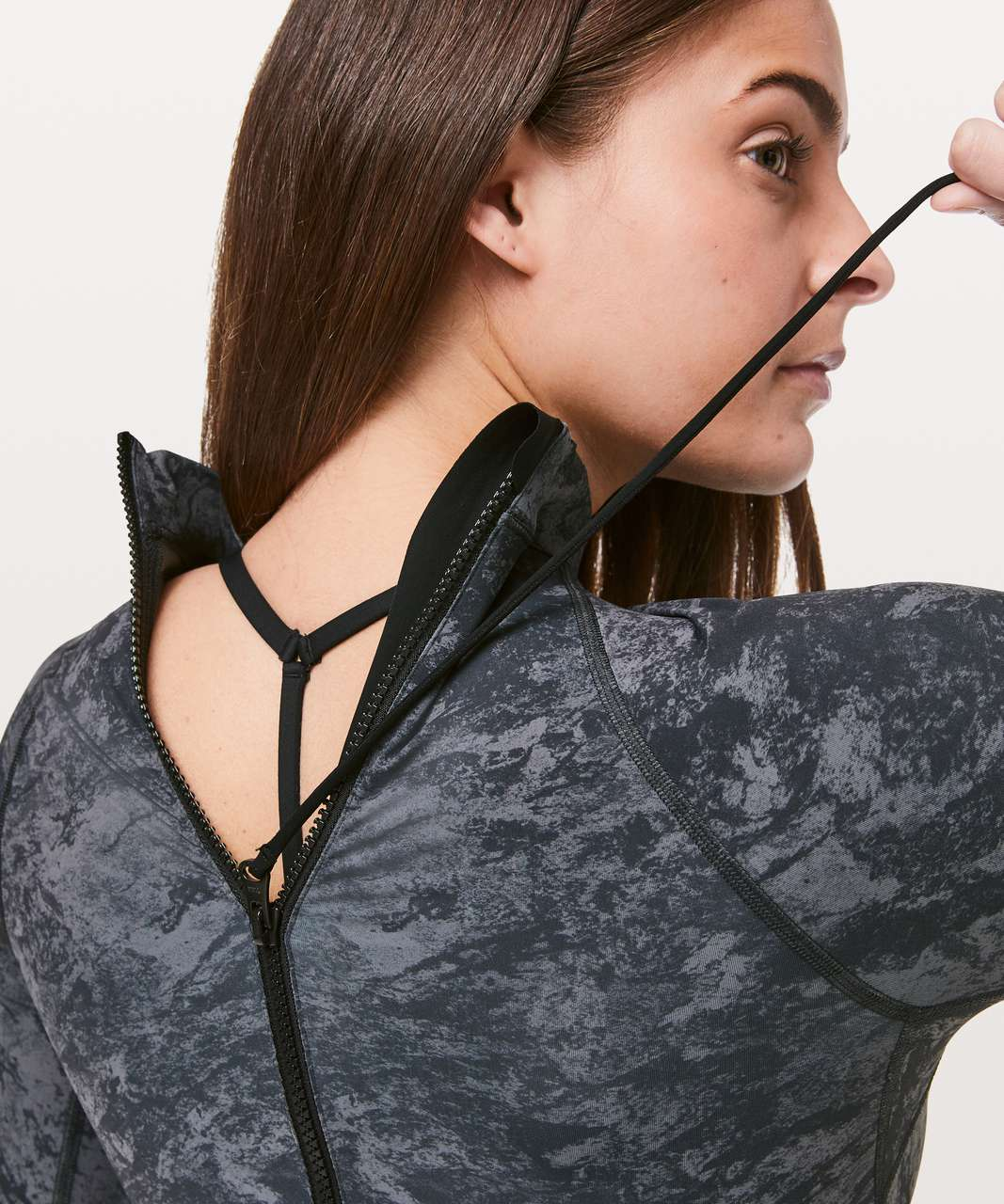Lululemon Will The Wave Long Sleeve One Piece - Washed Marble Titanium Deep Coal