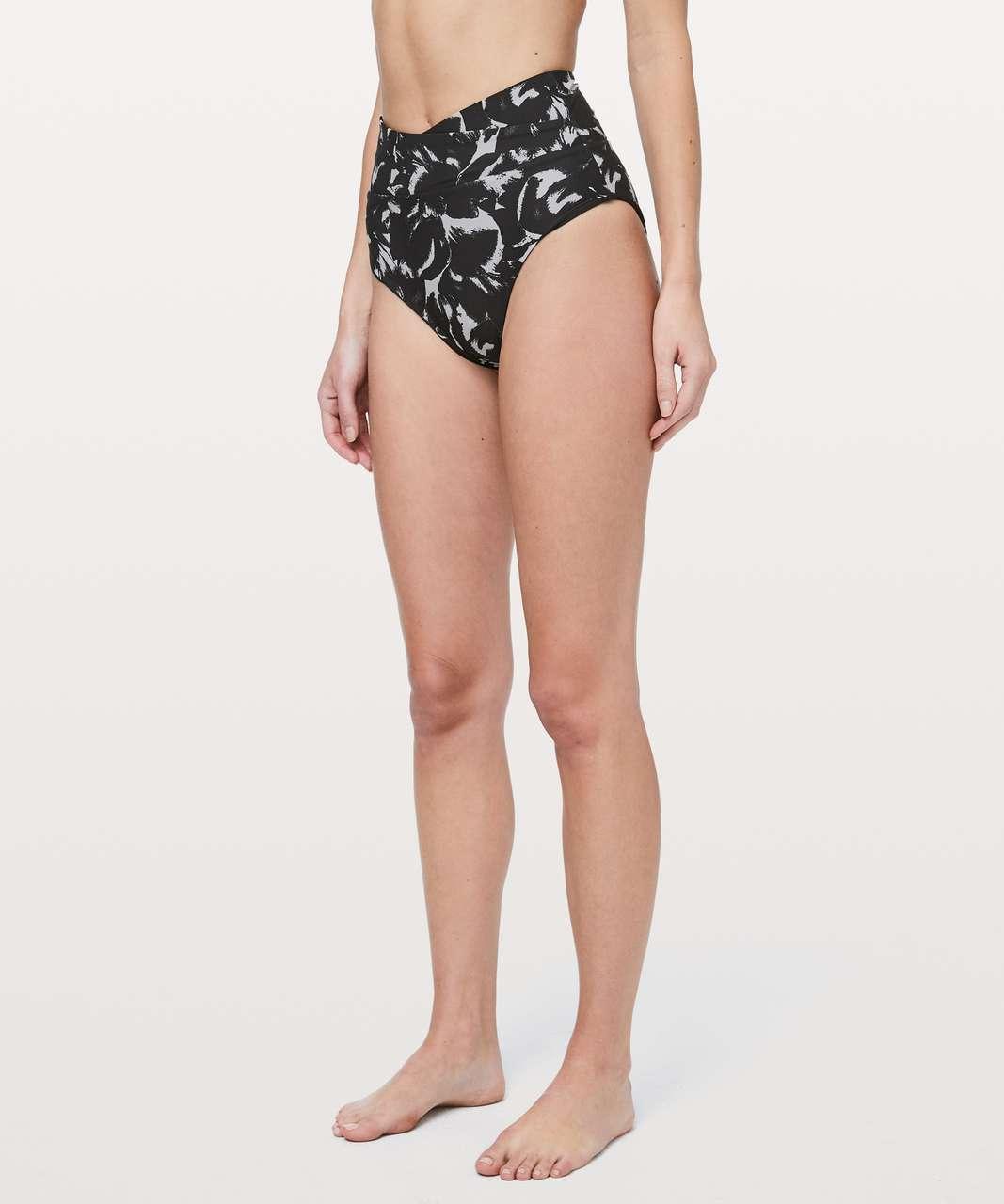 Lululemon Tied To Tide Swim Bottom - Mini Flower Pop Silver Lilac Black / Black