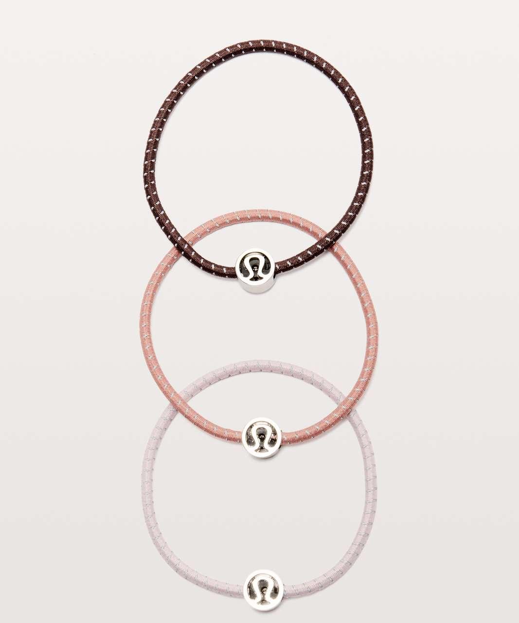 Lululemon Glow On Hair Ties - Antique Bark / Porcelain Pink / Misty Rose