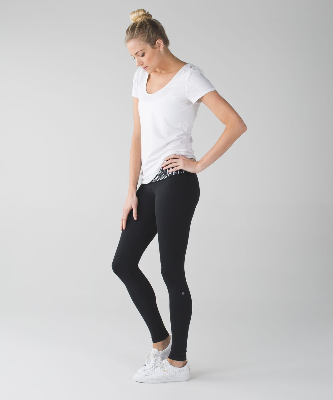 Lululemon Wunder Under Pant III - Black / Ying Yang Stripe White Black