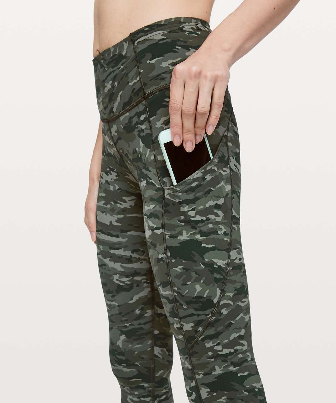 "Lululemon Fast & Free 7/8 Tight II *Nulux 25"" - Evergreen Camo Green Multi"