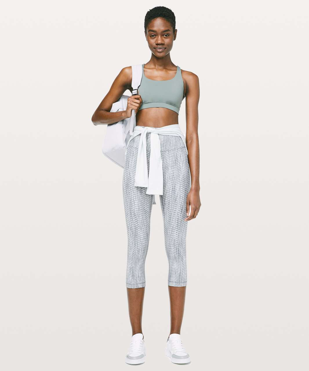"Lululemon Wunder Under Crop (High-Rise) *Full-On Luon 21"" - Luon Arrow Jacquard Battleship Silver Spoon"