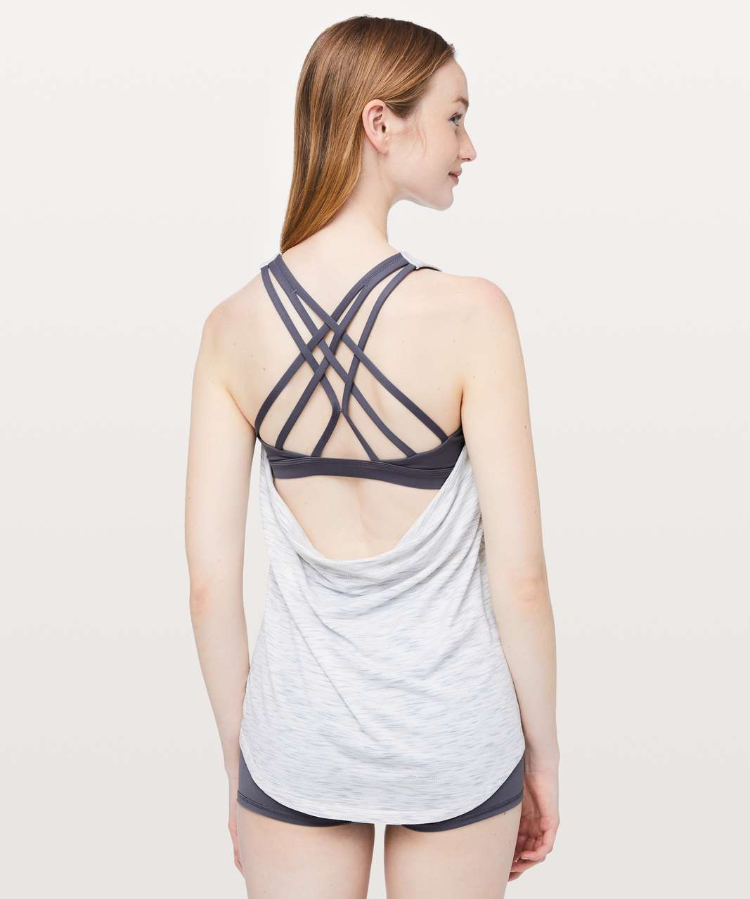 Lululemon Slay The Studio 2-In-1 Tank *Medium Support B/C Cup - Tiger Space Dye Hail White / Titanium