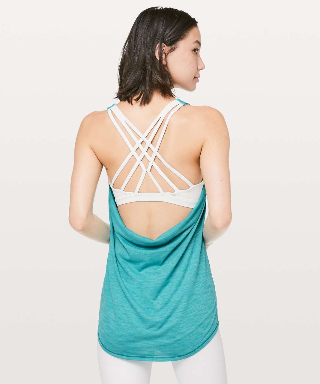 Lululemon Slay The Studio 2-In-1 Tank *Medium Support B/C Cup - Heathered Amazonite / Ocean Mist