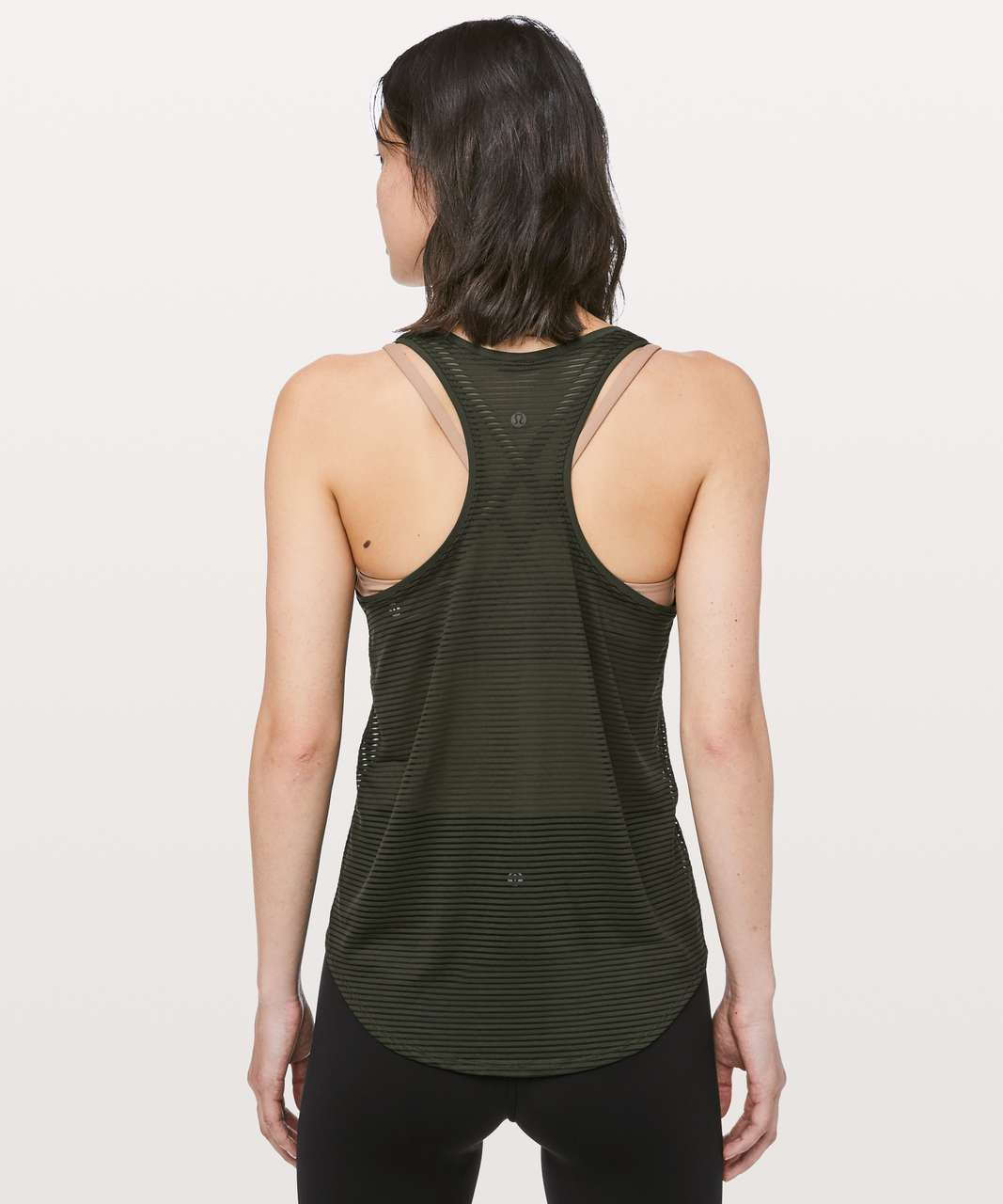 Lululemon All Love Tank *Striped Mesh - Dark Olive