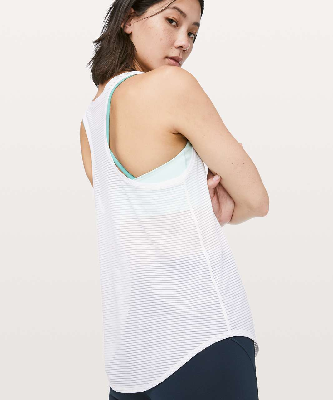 Lululemon All Love Tank *Striped Mesh - White