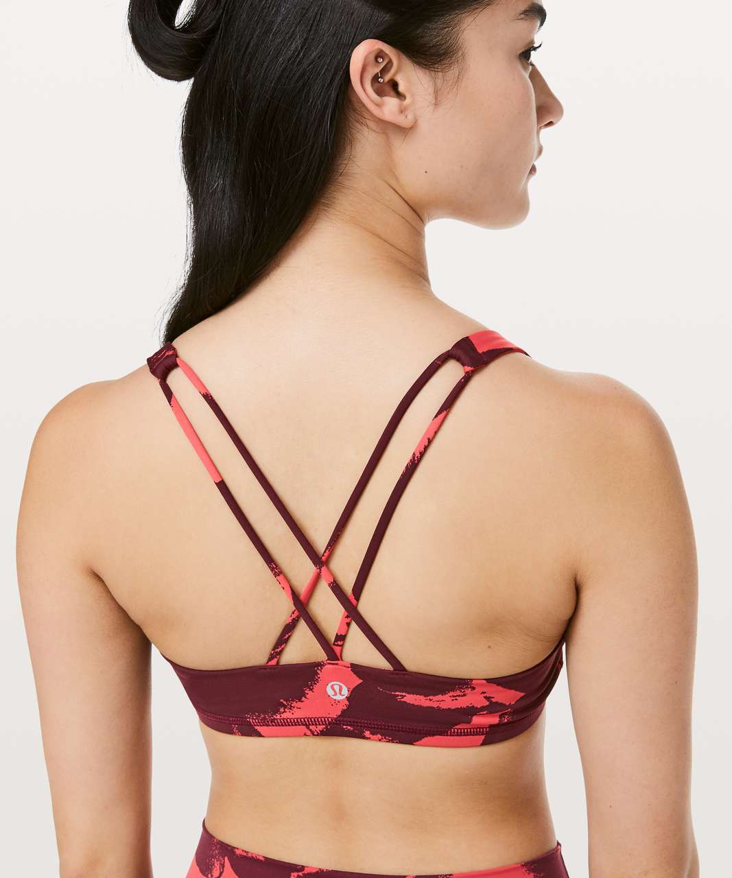 Lululemon Free To Be Bra - Flower Pop Poppy Coral Deep Ruby
