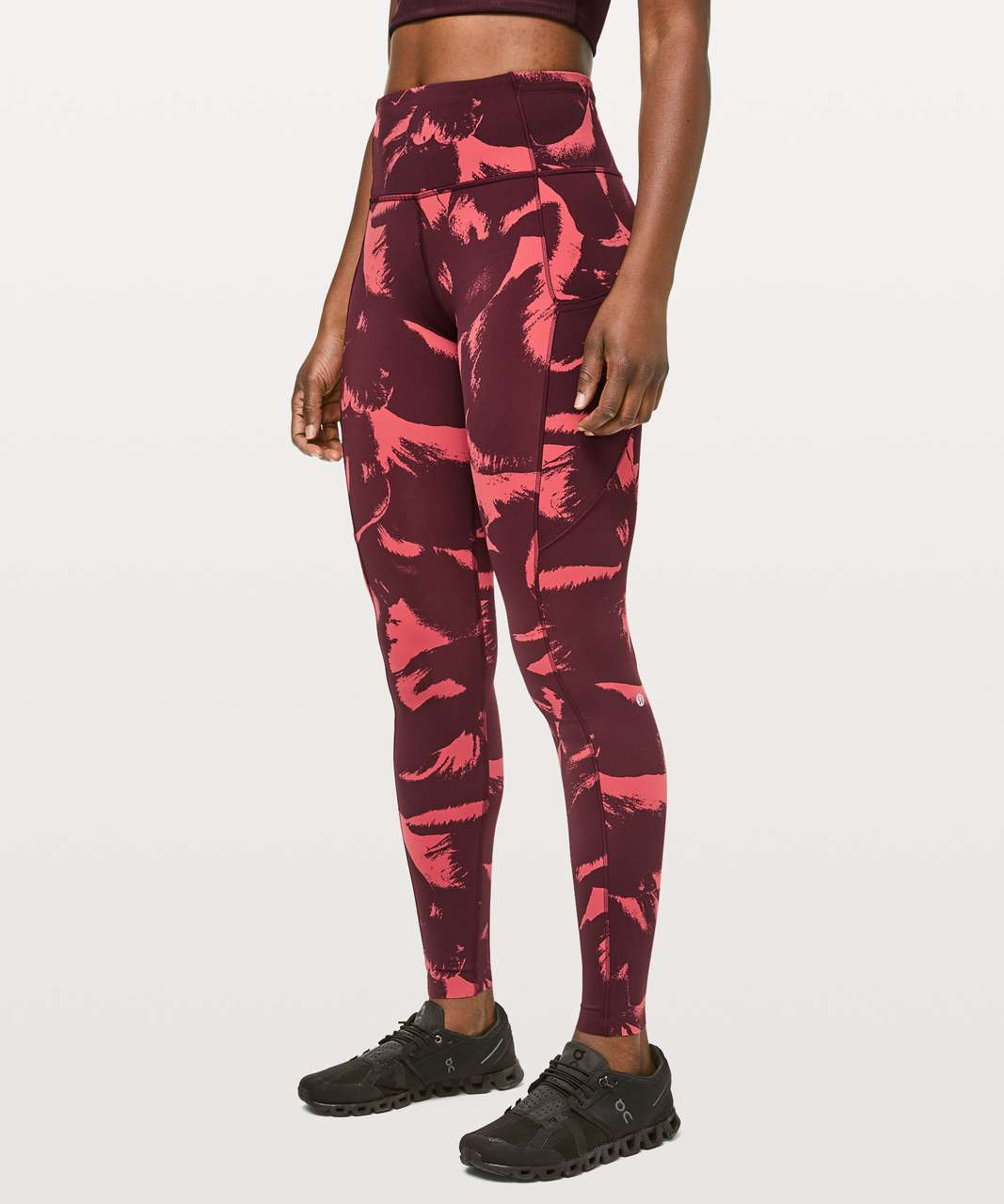 "Lululemon Fast & Free Full Length Tight *Non-Reflective 28"" - Flower Pop Poppy Coral Deep Ruby"