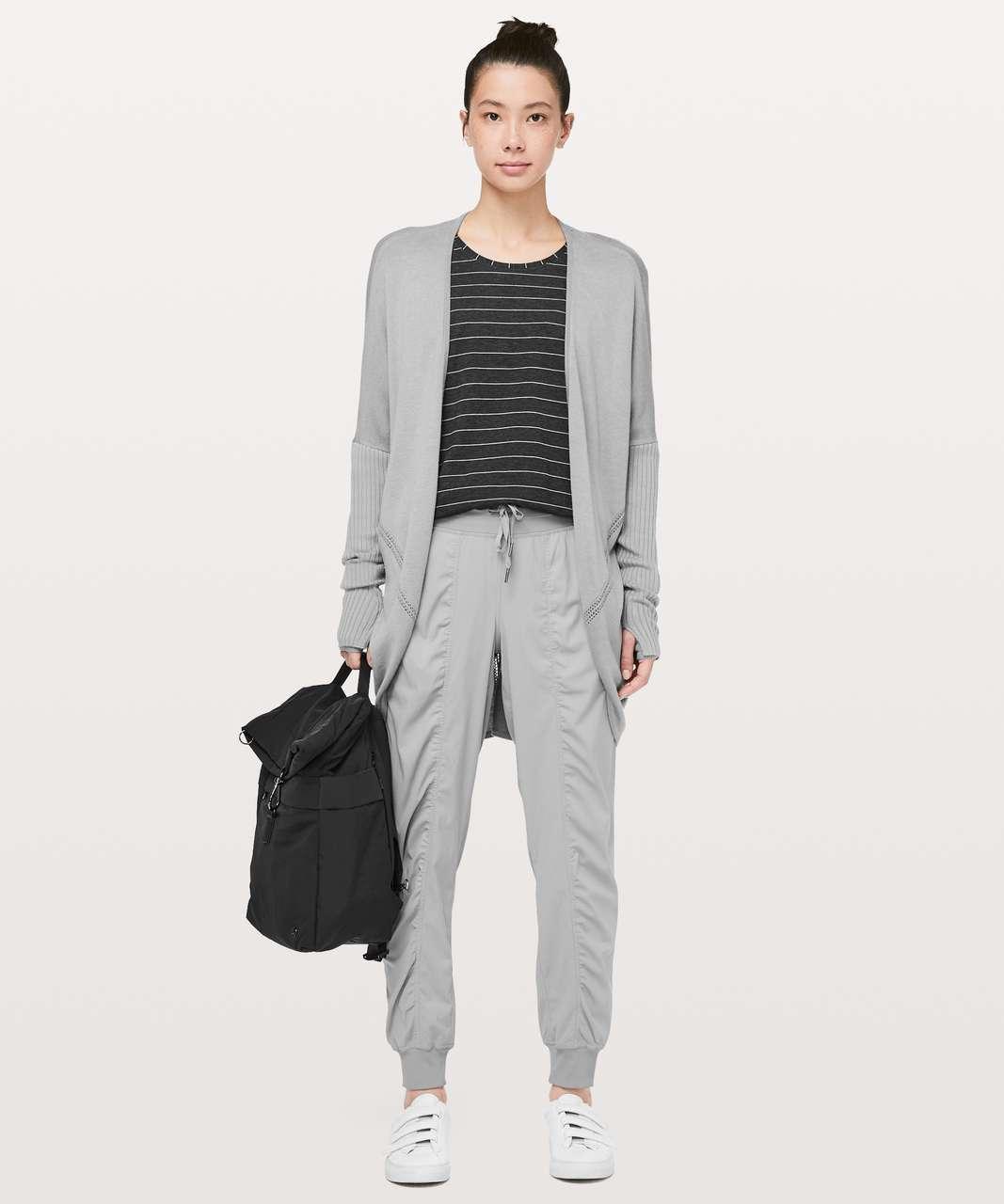 Lululemon Emerald Long Sleeve - Short Serve Stripe Heathered Black White