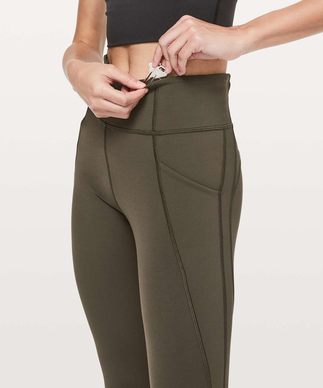"Lululemon Time To Sweat Crop *23"" - Dark Olive"