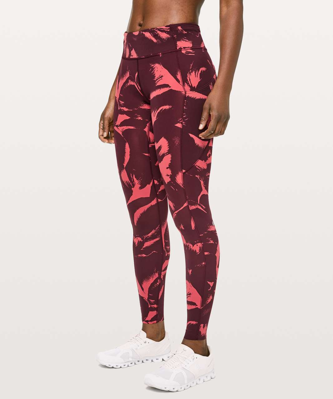 "Lululemon Fast & Free Full Length Tight *Mid-Rise Non-Reflective 28"" - Flower Pop Poppy Coral Deep Ruby"