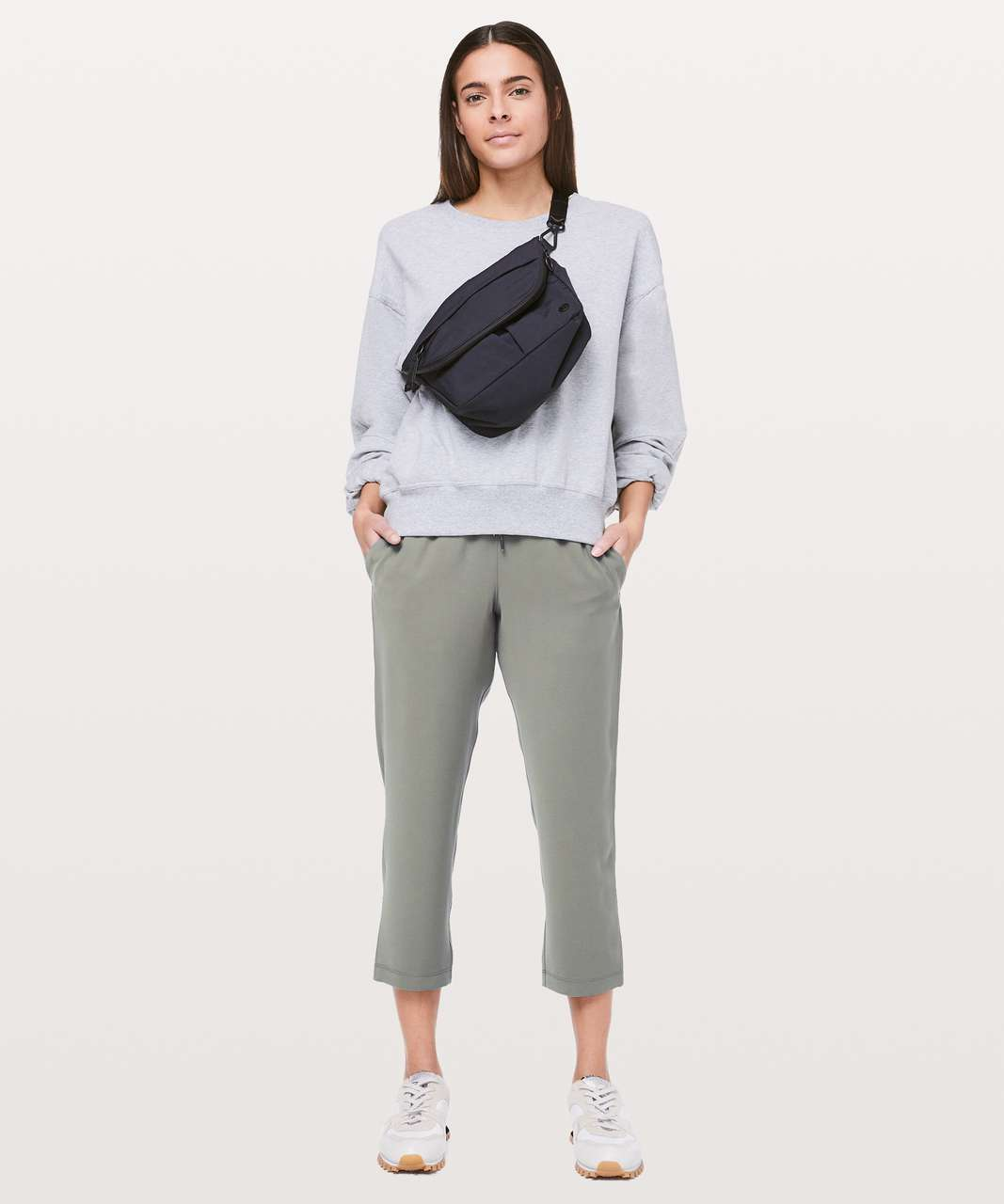 "Lululemon On The Fly Crop *Woven 23"" - Grey Sage"