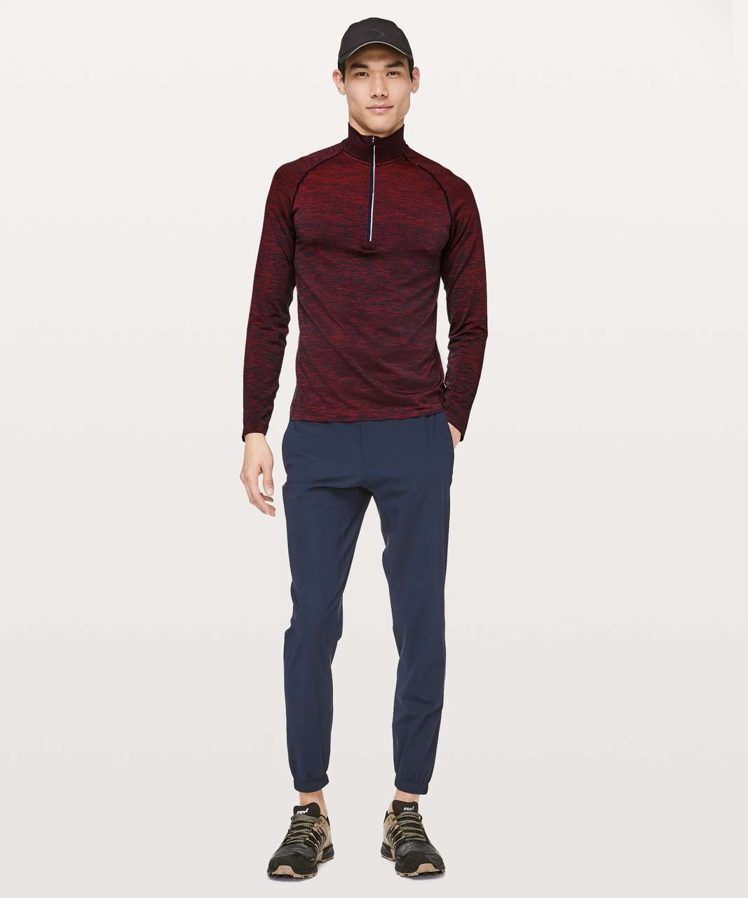 Lululemon Metal Vent Tech 1/2 Zip - Spicy Red / True Navy