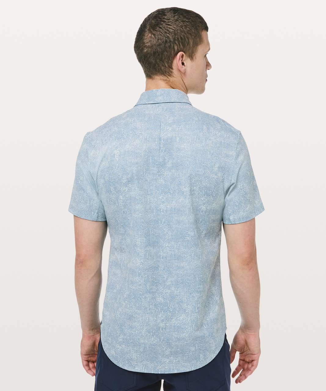 Lululemon Airing Easy Short Sleeve Buttondown - Microcube Storm Blue Utility Blue
