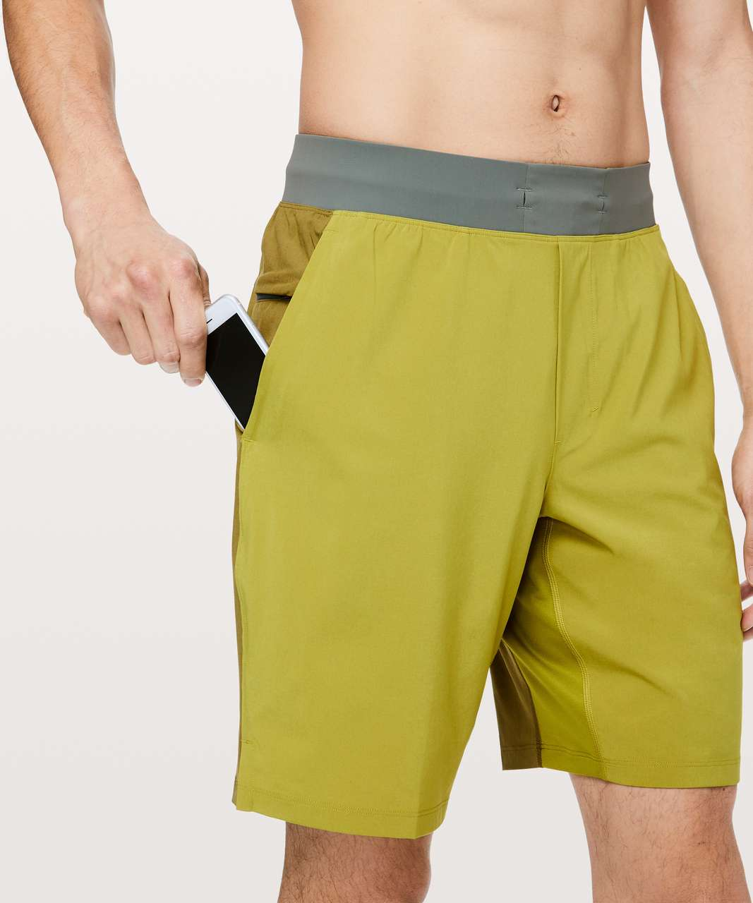 "Lululemon T.H.E. Short 9"" *Linerless - Golden Lime / Mossy / Grey Sage"