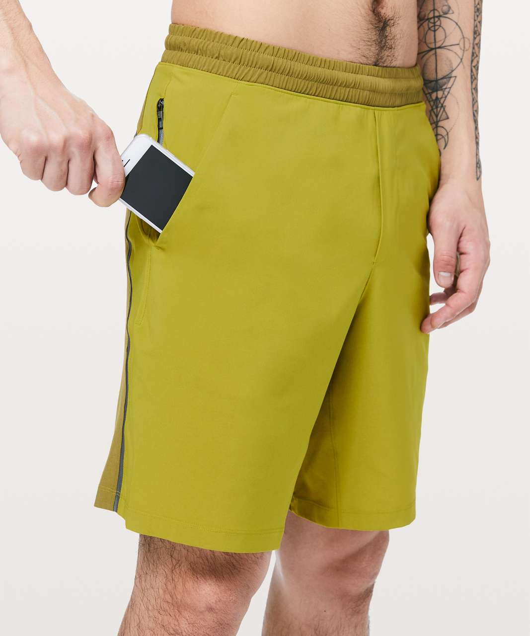 "Lululemon Pace Breaker Short 9"" *Linerless - Golden Lime / Mossy / Grey Sage"
