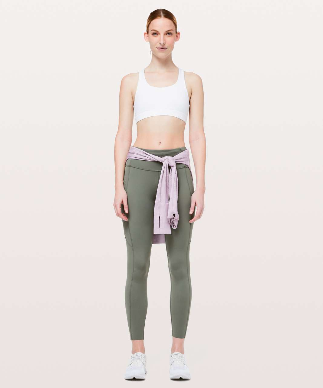 "Lululemon Fast & Free 7/8 Tight II *Non-Reflective Nulux 25"" - Grey Sage"