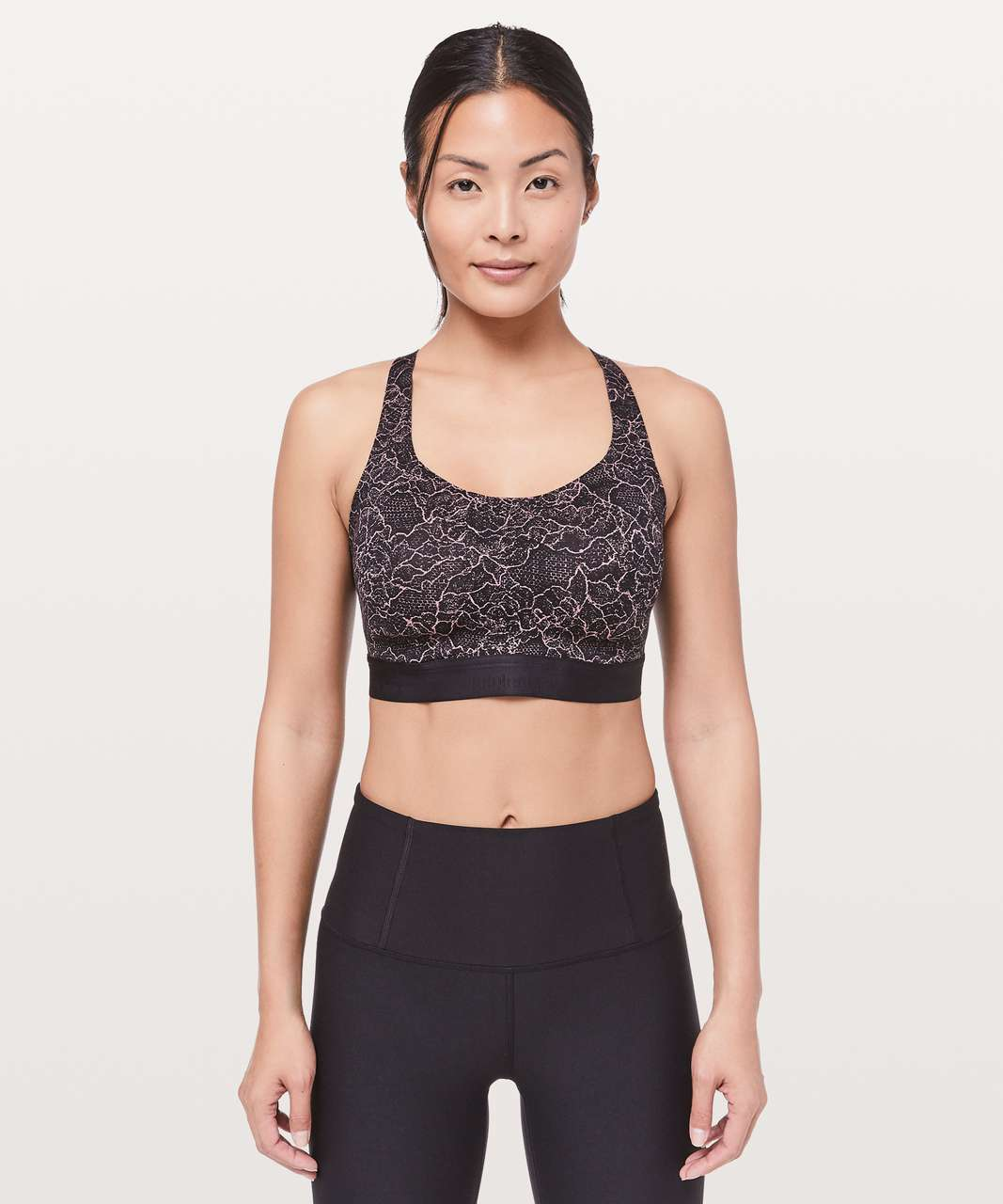 Lululemon Fine Form Bra - Lacescape Spanish Rose Black / Black