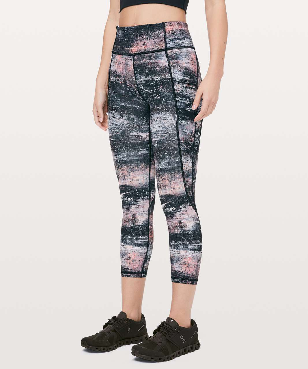 "Lululemon Time To Sweat Crop *23"" - Azurite Poppy Coral Multi"