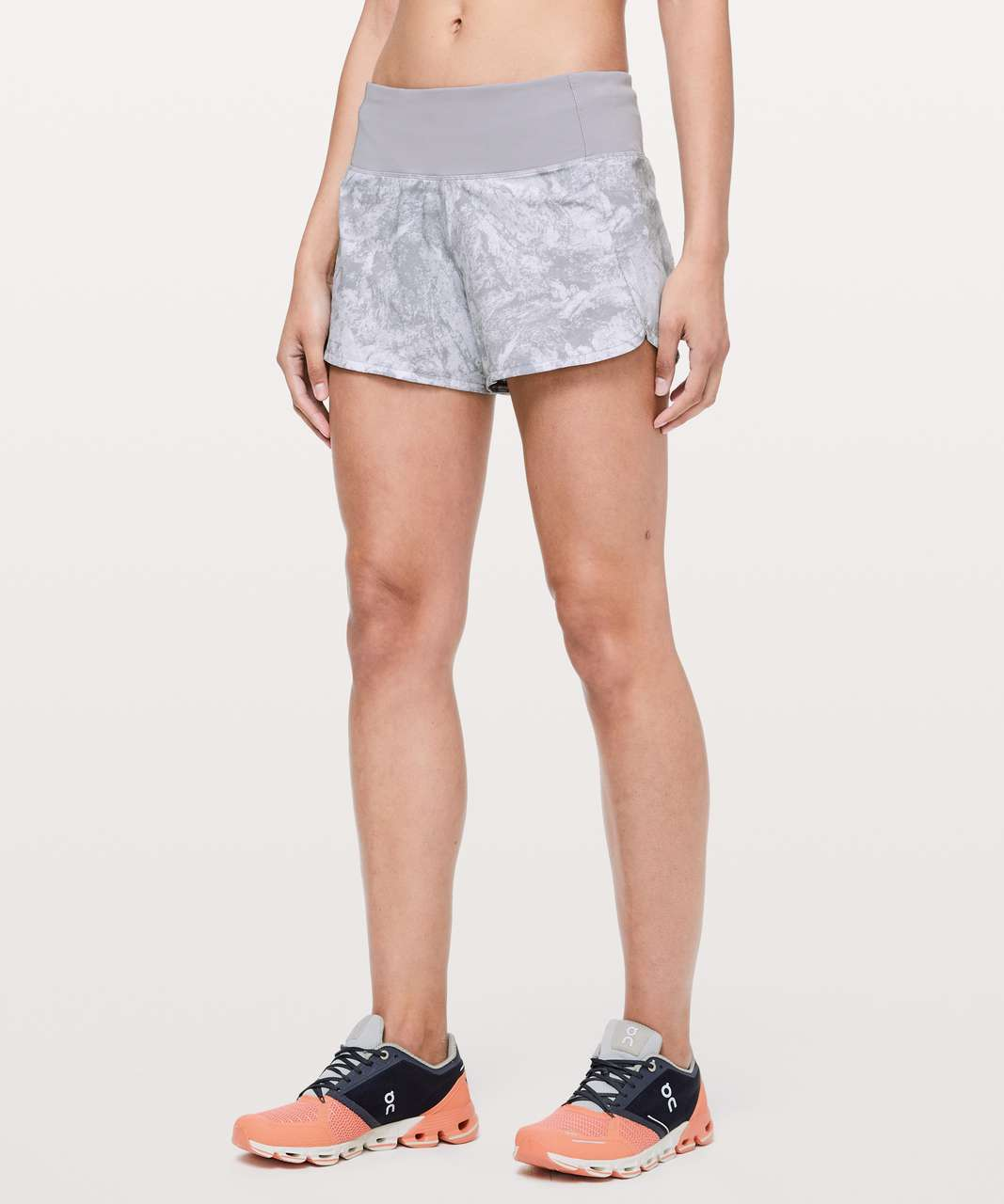 "Lululemon Run Times Short II *4"" - Washed Marble Alpine White Silverscreen / Silverscreen"