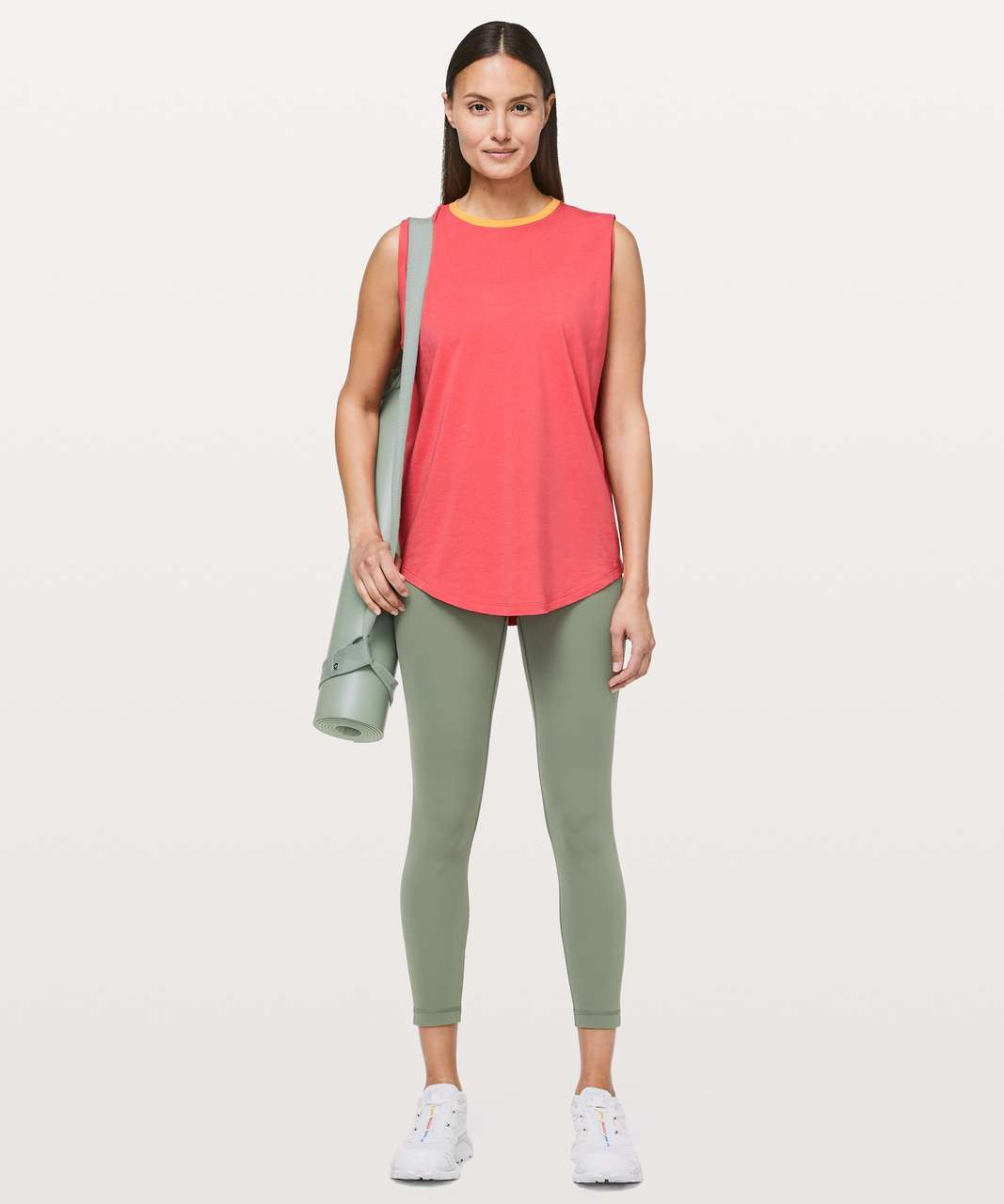 Lululemon Brunswick Muscle Tank - Poppy Coral / Heathered Honey Lemon