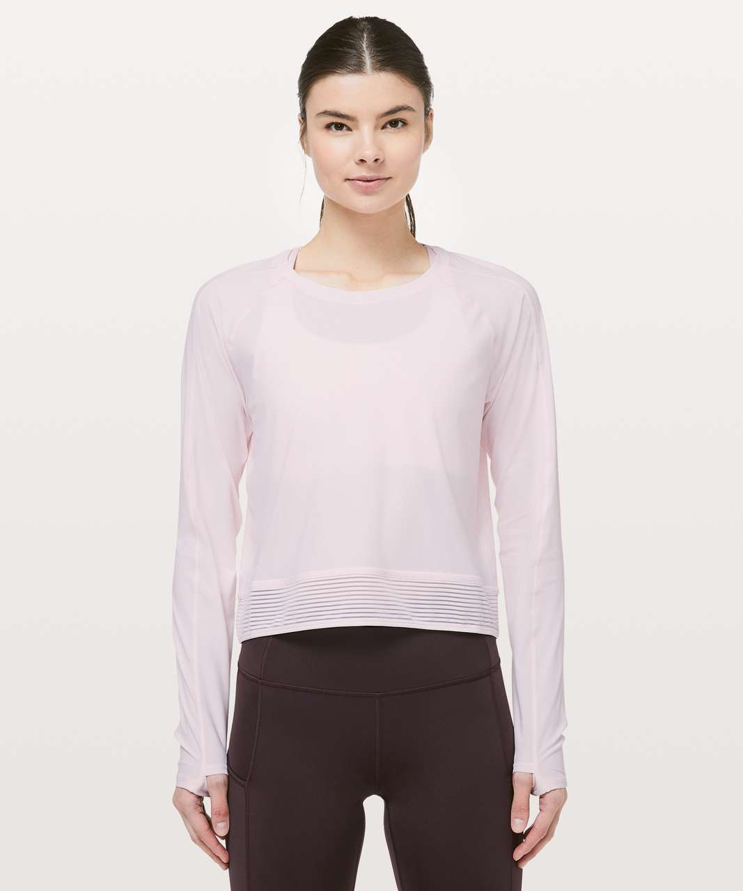Lululemon Stripe In Stride Long Sleeve - Pink Glow