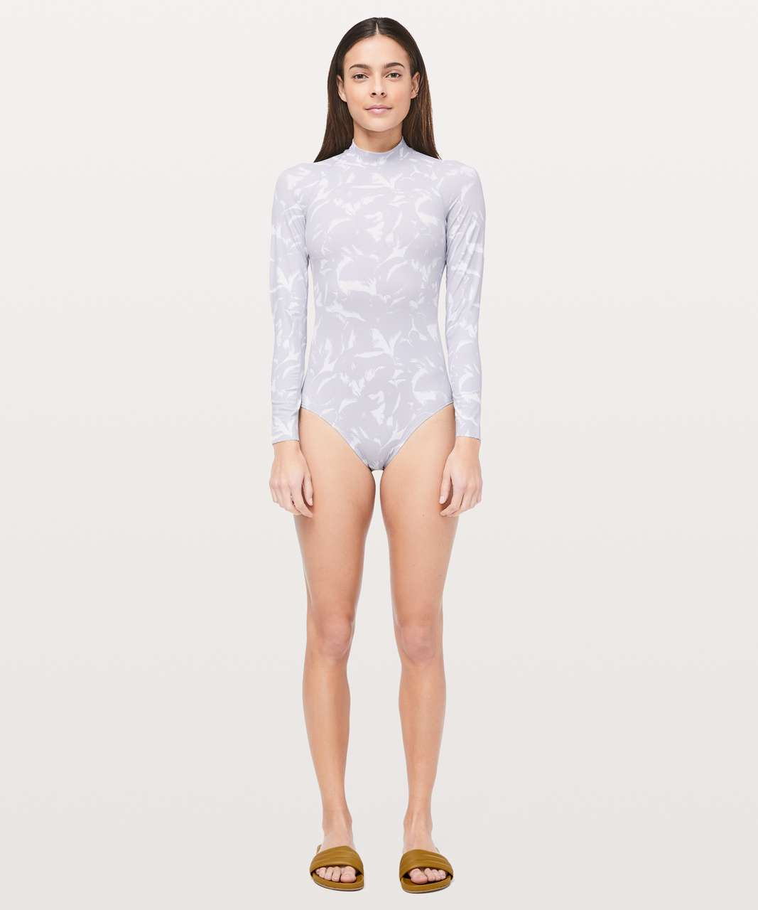 Lululemon Will The Wave Long Sleeve One Piece - Mini Flower Pop White Silver Lilac