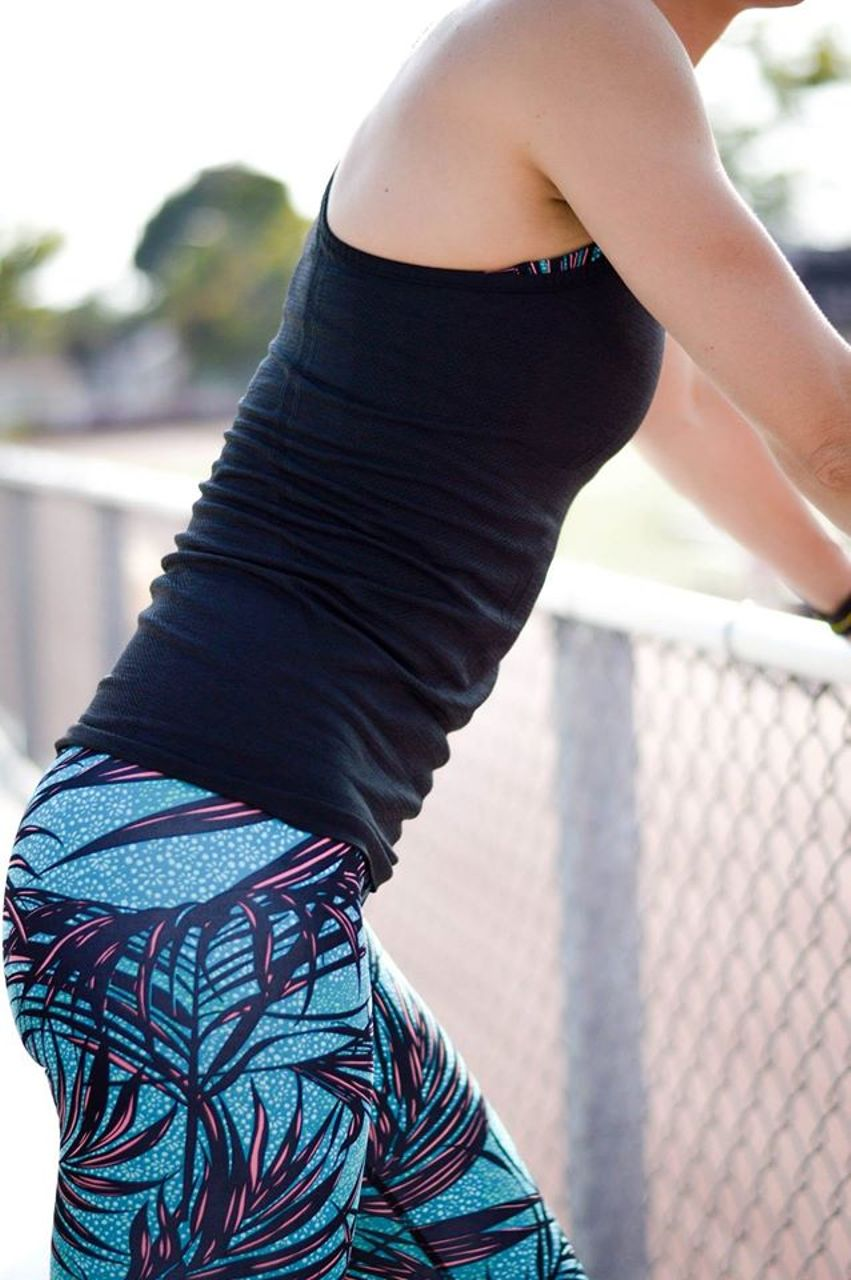 Lululemon High Times Pant - Palm Lace Tofino Teal Multi
