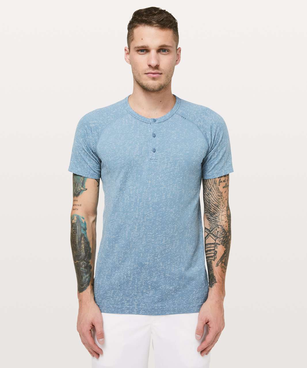 Lululemon Metal Vent Tech Short Sleeve Henley - Utility Blue / White