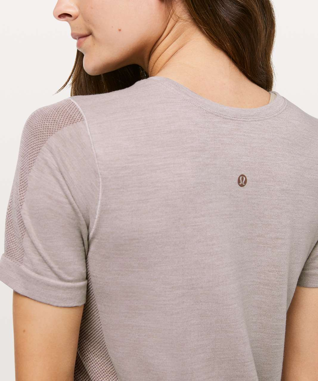 Lululemon Aerial Silk Relaxed Tee - Spanish Oak / White
