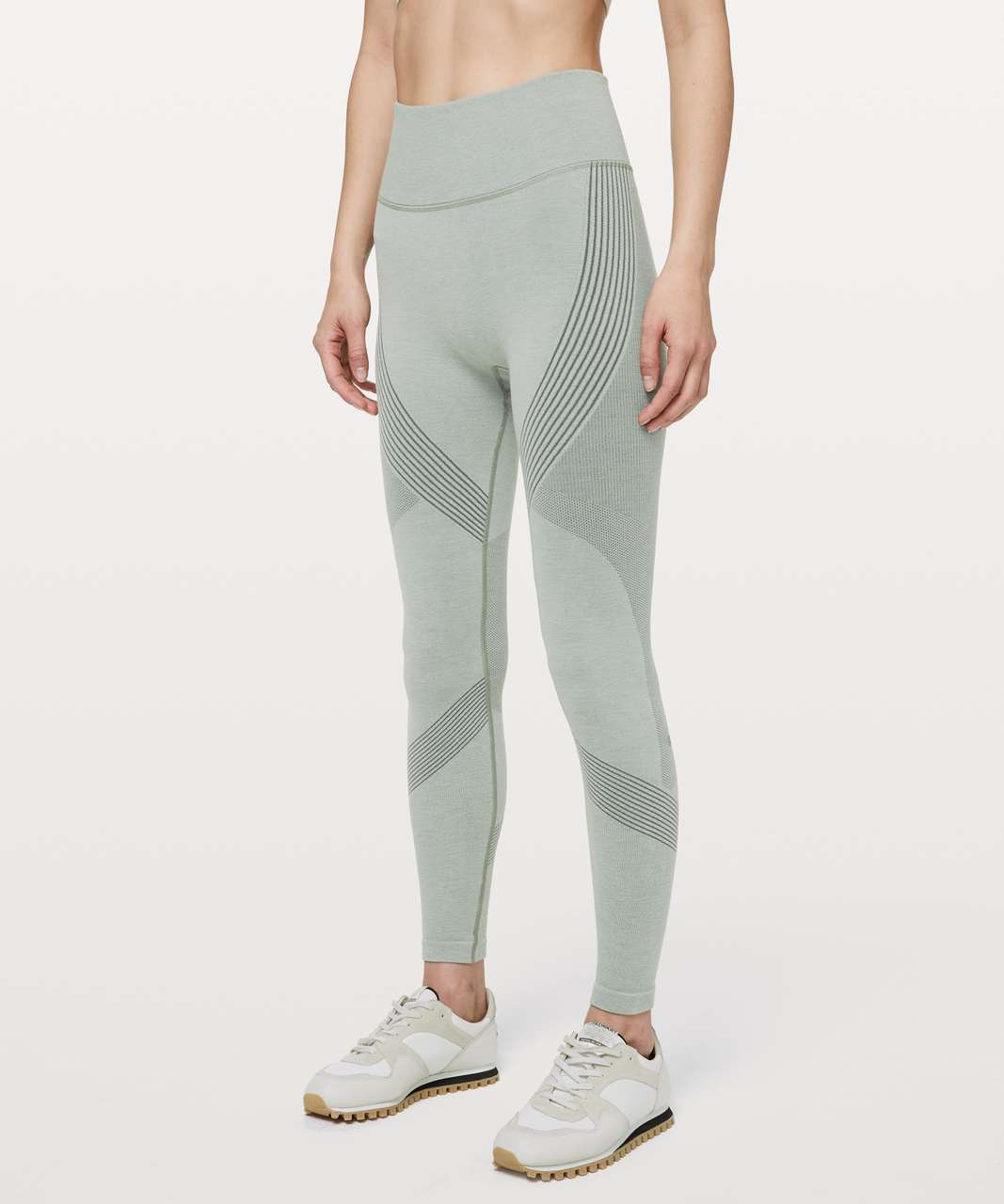 "Lululemon Aerial Silk Tight *28"" - Grey Sage / White"