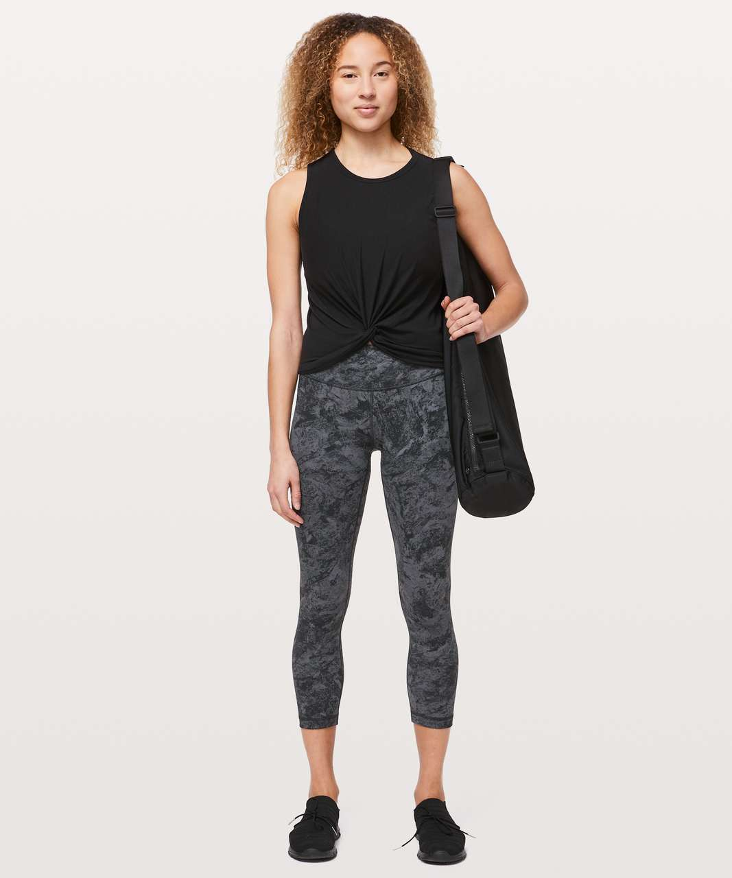 "Lululemon Wunder Under Crop *Mid-Rise Full-On Luxtreme 21"" - Washed Marble Titanium Deep Coal"