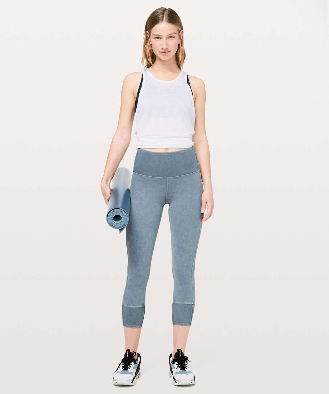 "Lululemon Wunder Under Crop 23"" *Ribbed - Washed Moon Blue"