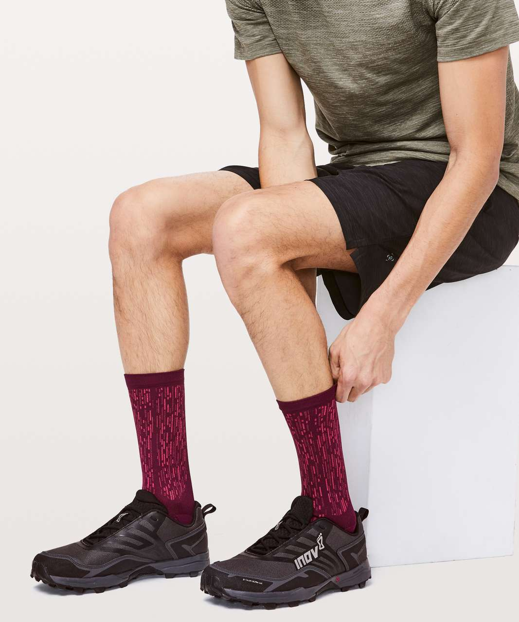 Lululemon Train To Conquer Crew Sock *Silver - Deep Ruby / Spicy Red