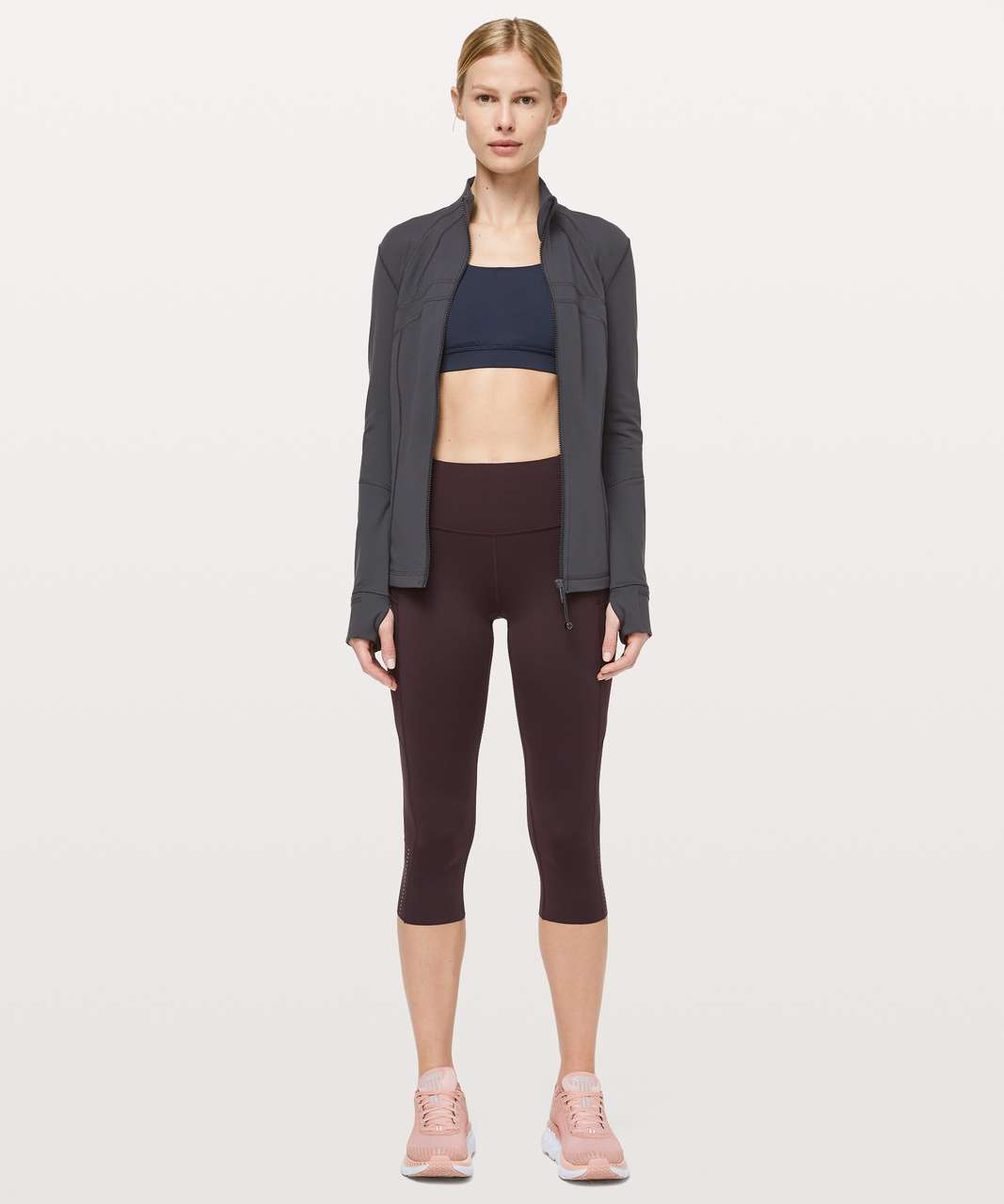 "Lululemon Fast and Free Crop II 19"" *Nulux - Plum Shadow"