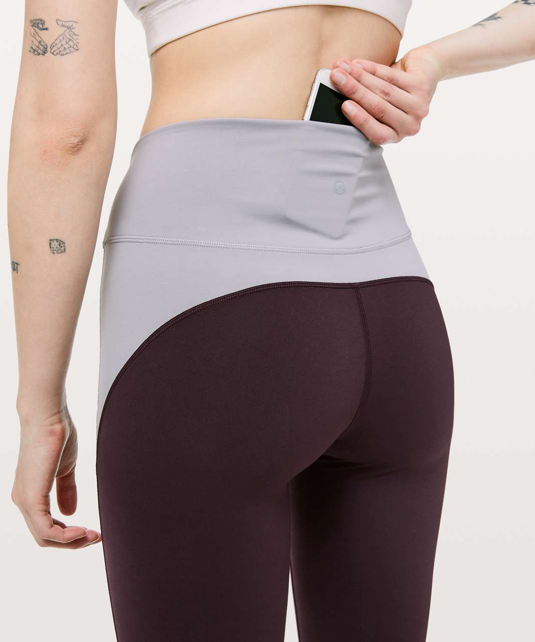 "Lululemon In Movement Tight 25"" *Blocked - Plum Shadow / Silverscreen / Antique Bark"