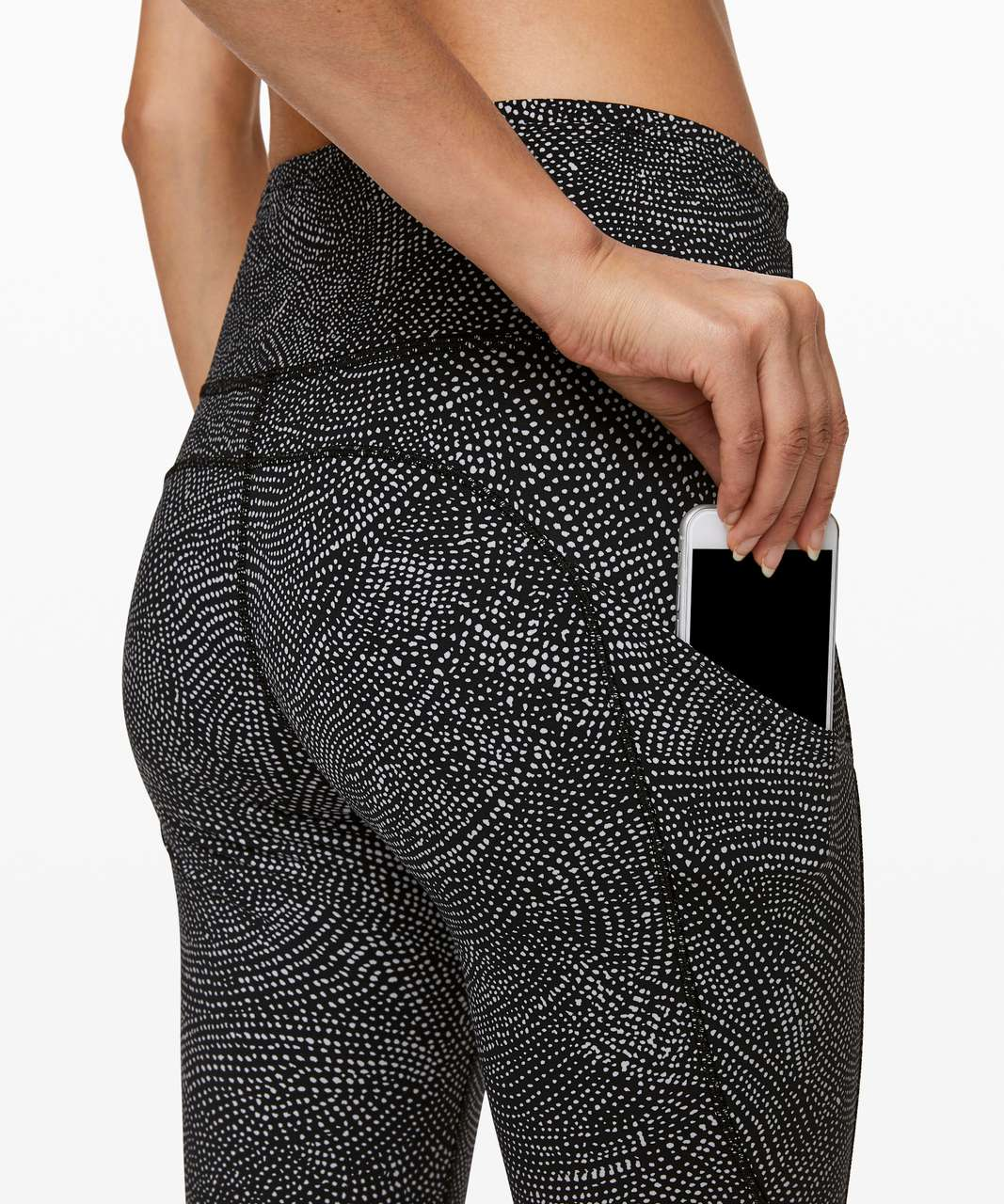 "Lululemon Fast and Free Tight II 25"" *Nulux - Free Spirit Ice Grey Black"