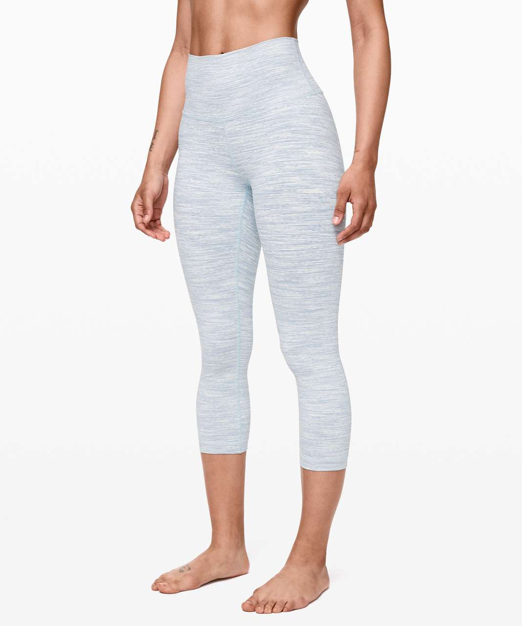 "Lululemon Wunder Under Crop (High-Rise) *21"" - Wee Are From Space Sheer Blue Chambray"