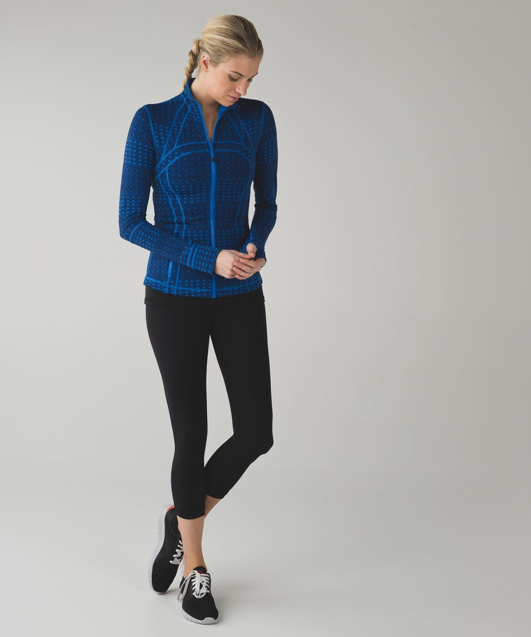 Lululemon Define Jacket - Triometric Stripe Lakeside Blue Hero Blue / Lakeside Blue
