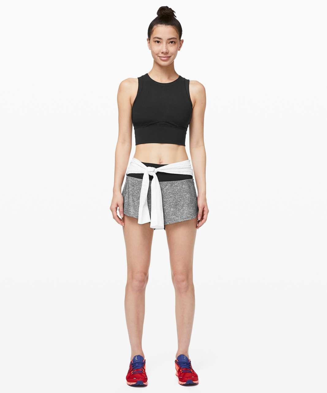 "Lululemon Speed Up Short Long *4"" Updated Fit - Heather Lux Multi Black / Black"