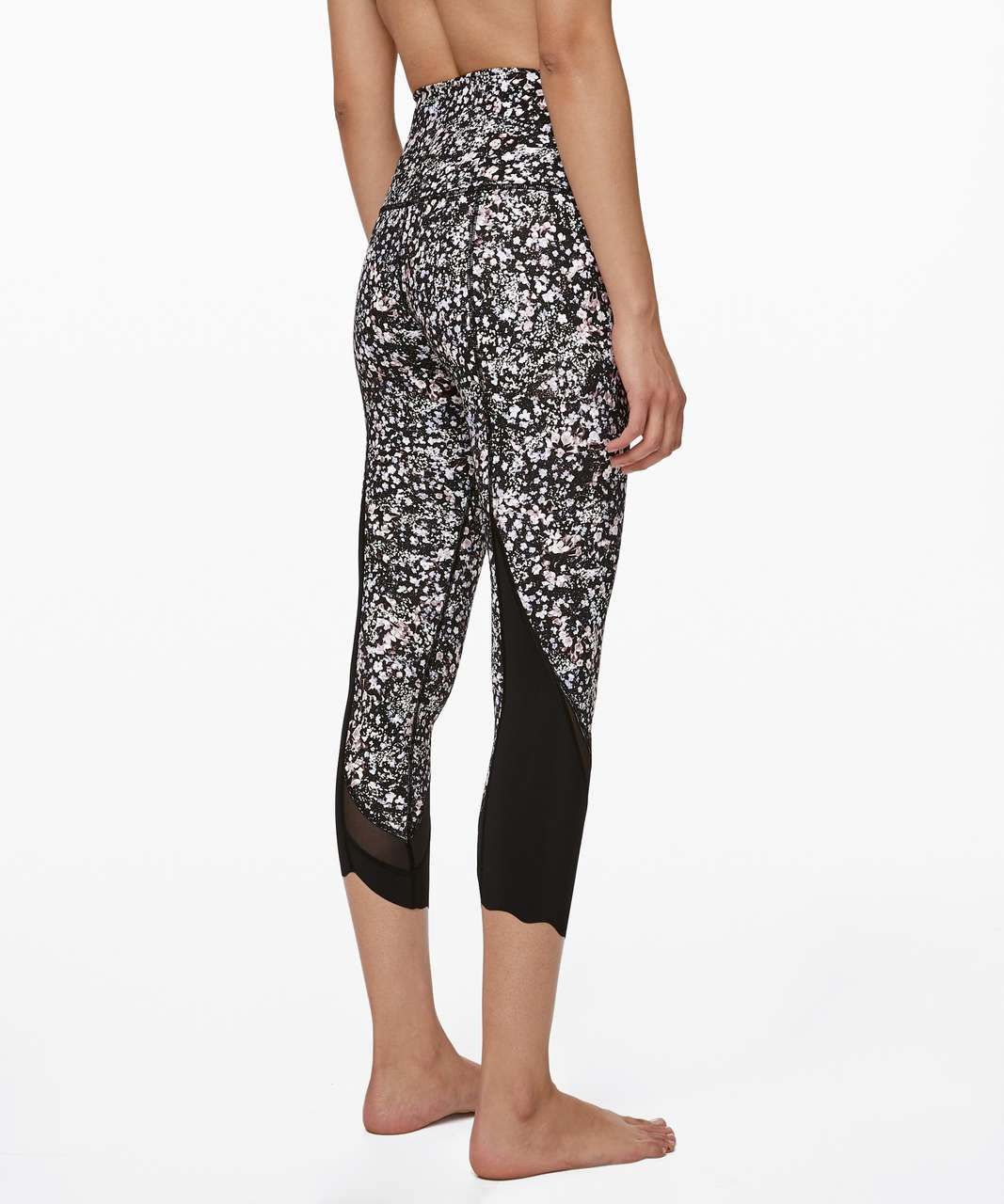 "Lululemon Wunder Under Crop II *Roll Down Scallop Luxtreme 24"" - Floral Spritz Multi / Black"