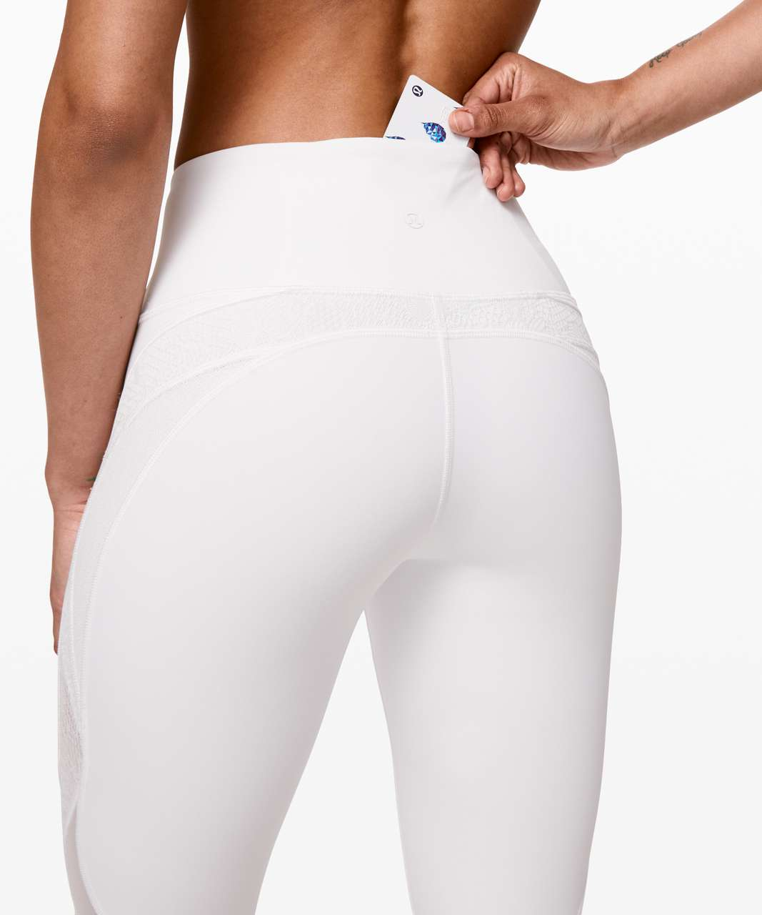 "Lululemon Wunder Under Crop 21"" *Lace - White"