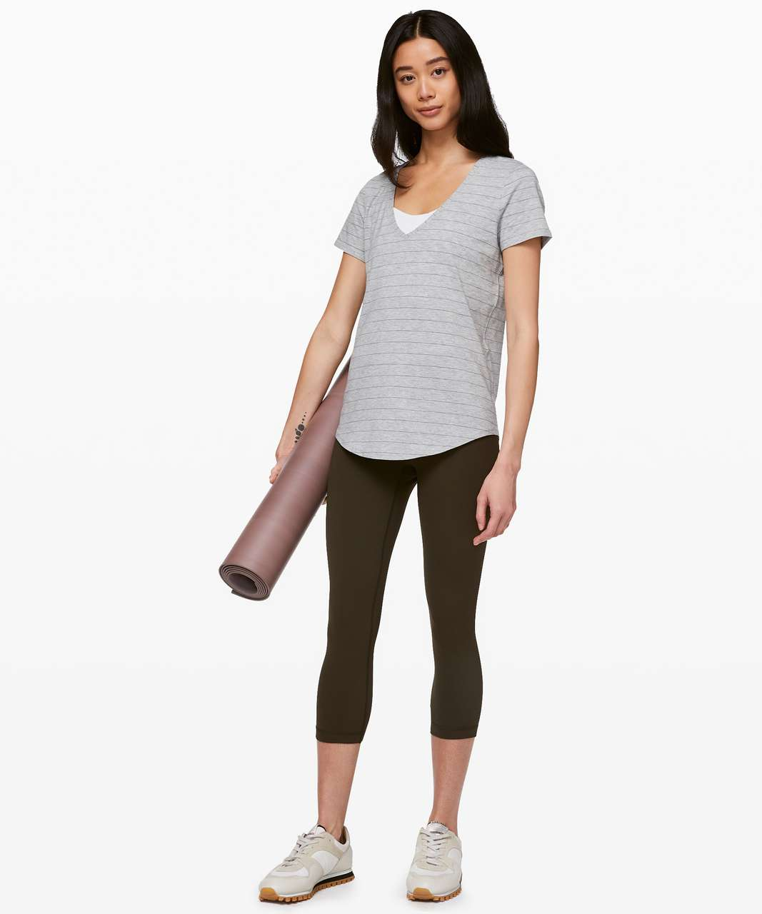 Lululemon Love Tee V - Short Serve Stripe Heathered Core Light Grey Grey Sage