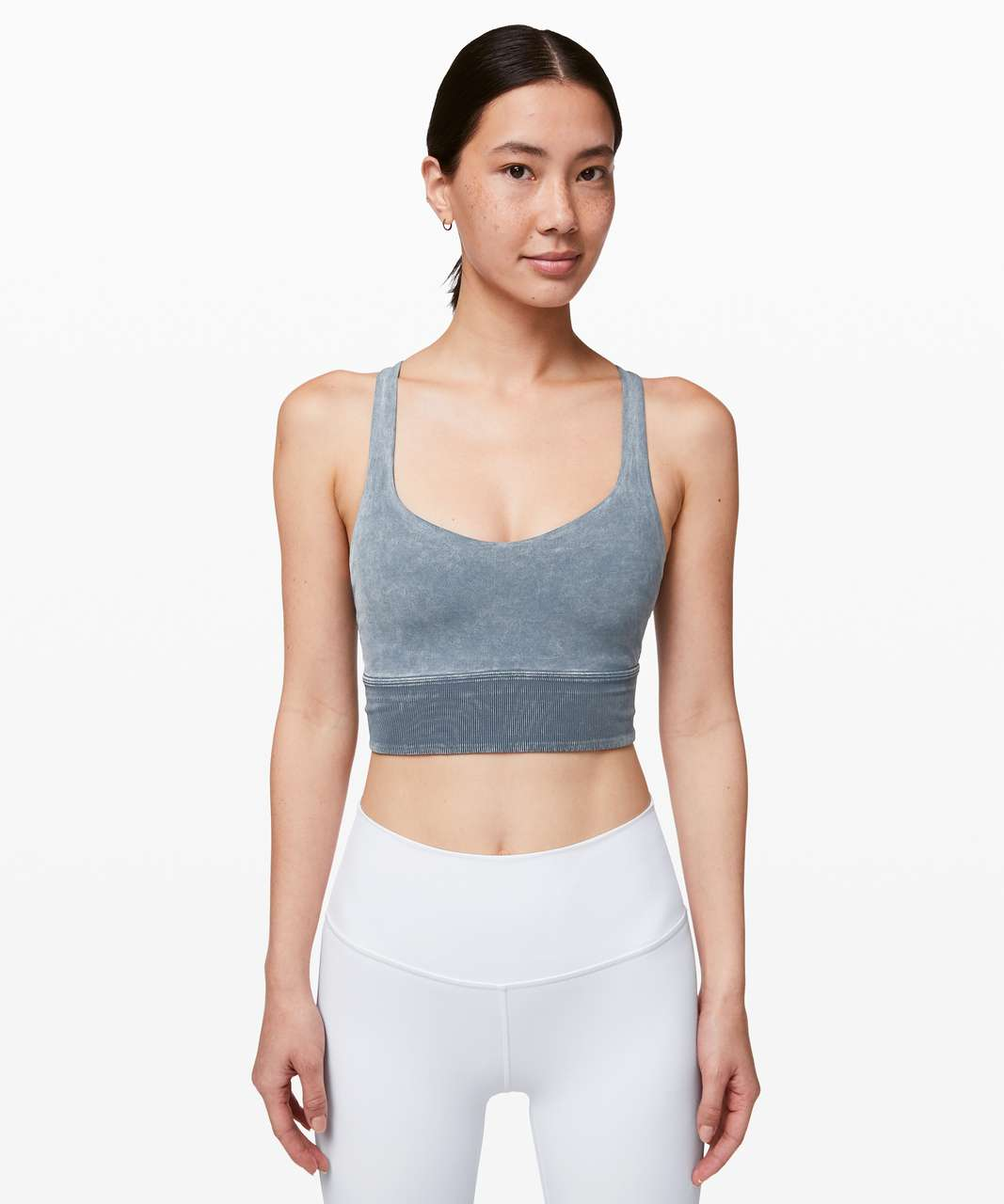 Lululemon Free To Be Bra *Long Line Rib Snow Wash - Washed Moon Blue